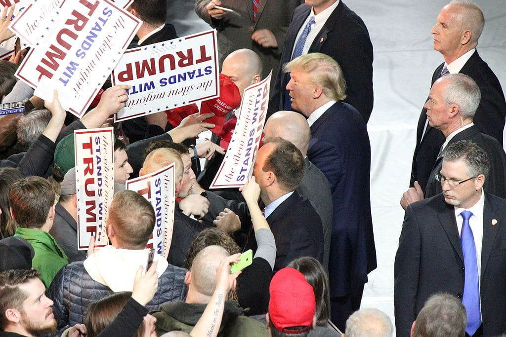 Donald Trump makes a campaign stop at Muscatine Iowa on 1/24/2016
