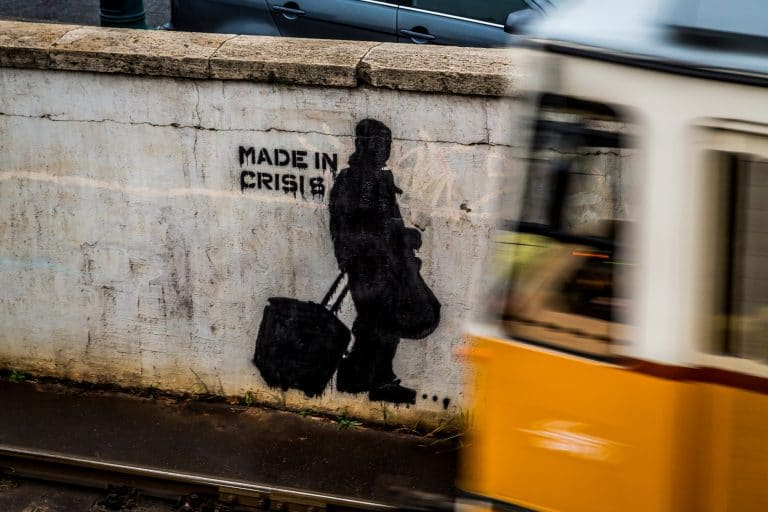 street art on a wall at a metro line in Budapest, Hungary
