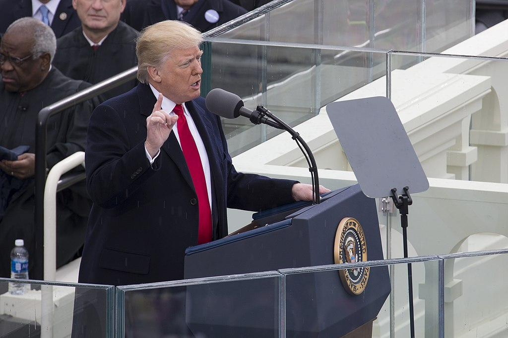 President Donald J. Trump delivers his presidential inaugural address