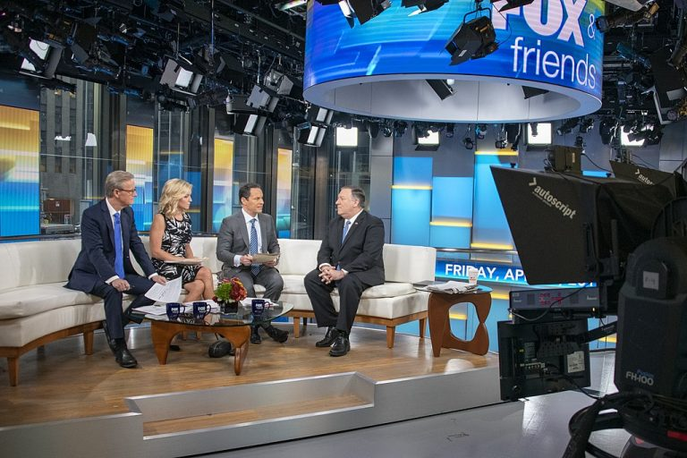 U.S. Secretary of State Michael R. Pompeo participates in a media interview with Fox and Friends in New York City, New York on April 5, 2019.