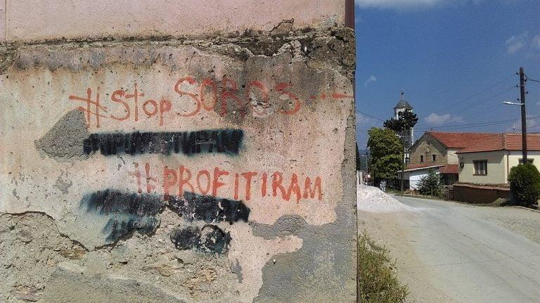 Anti George Soros sentiment graffiti in Resen Macedonia 2018